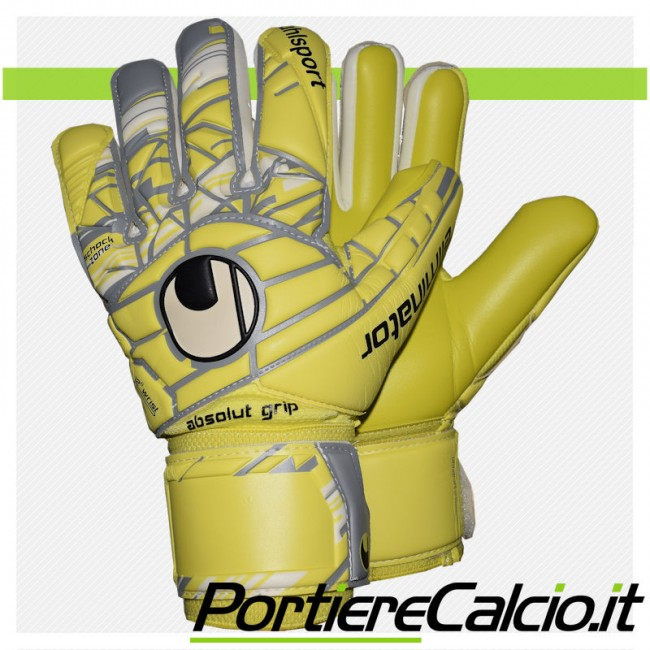 Guanti da portiere Uhlsport Eliminator Absolutgrip HN gialli