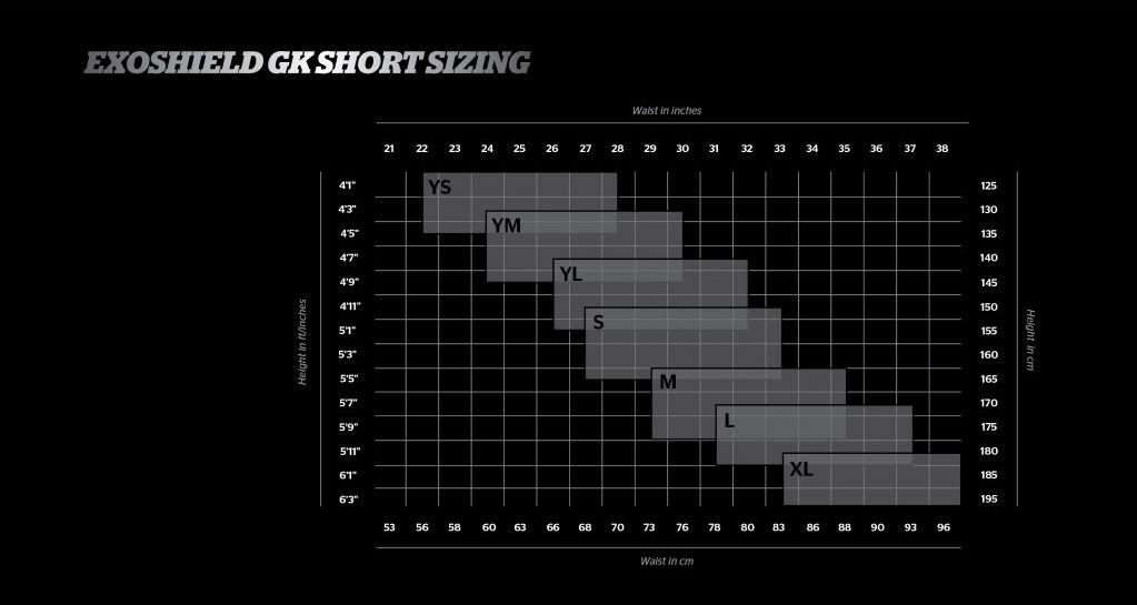 tabella misure pantaloncino Storelli