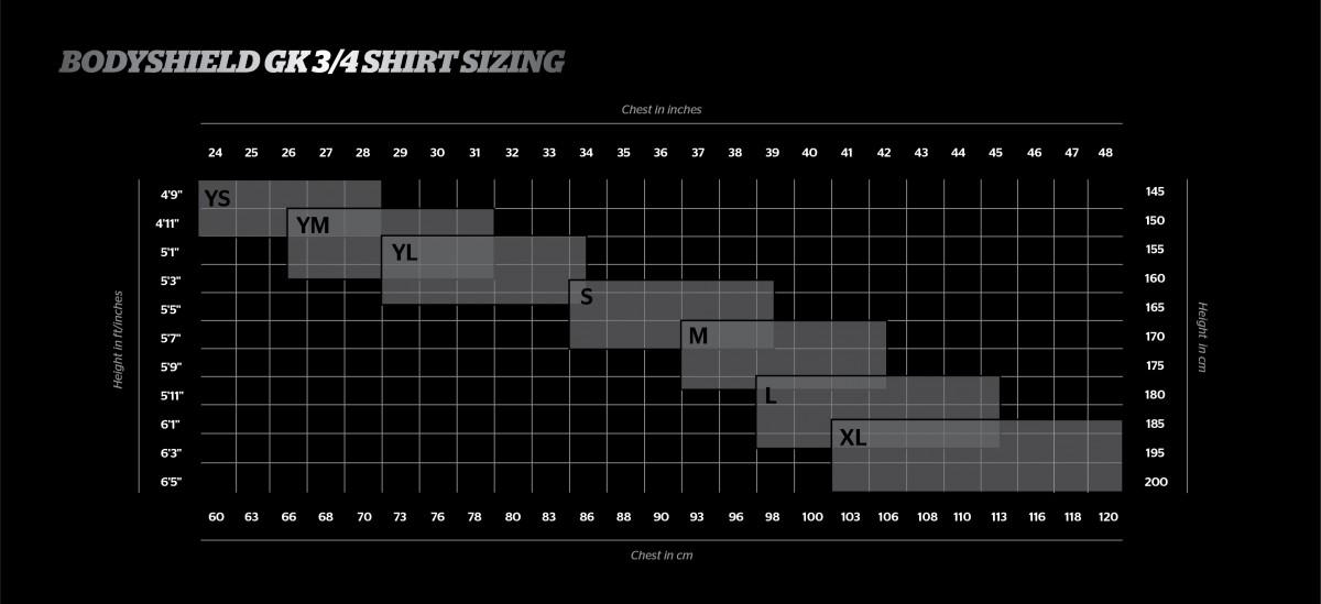 tabella misure maglia bodyshield Storelli