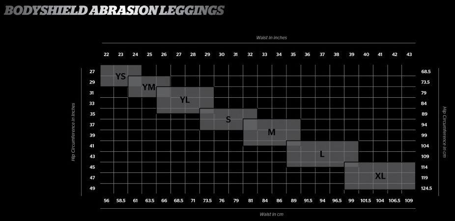 tabella taglie abrasion leggings