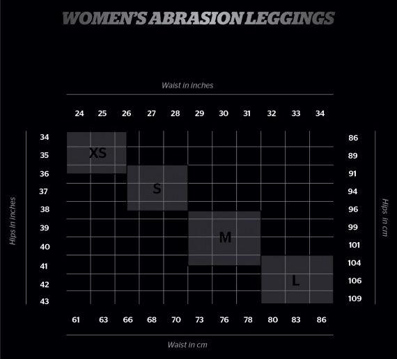 tabella misure leggings abrasion donna